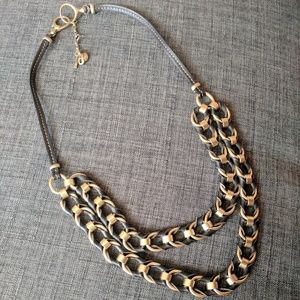 Fossil Gold and Black Leather Chain Link Necklace